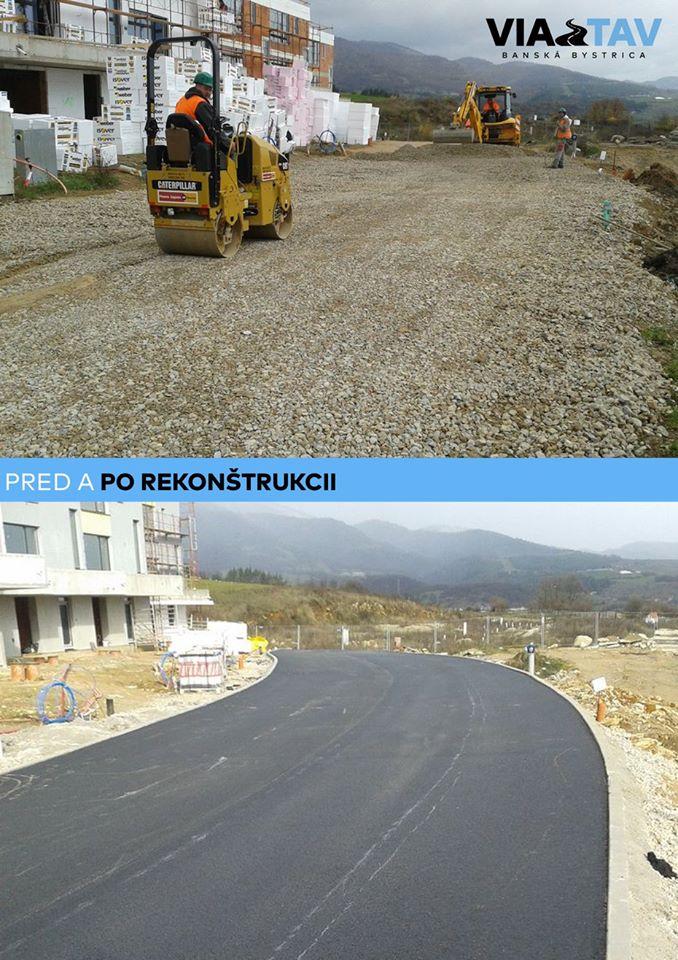 2 fotografie výstavby cesty na Graniari: pred a po