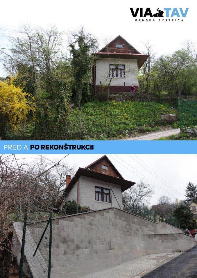 2 fotografie výstavby oporného múru vo Vyhniach: pred a po